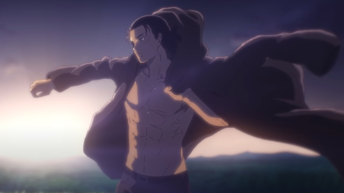 Eren Yeager putting his jacket on