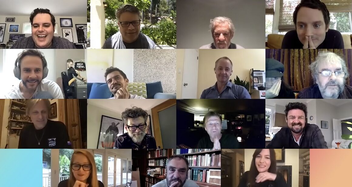 The Lord of the Rings cast and crew together on a virtual call