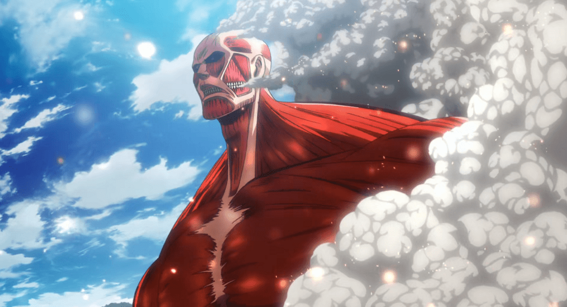Colossus Titan appearing from steam against bright blue sky
