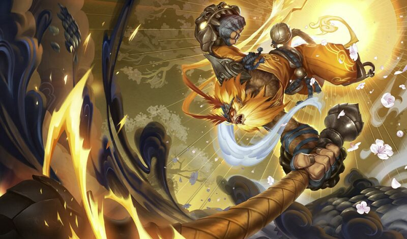 Radiant Wukong slamming his staff ferociously with a colorful background