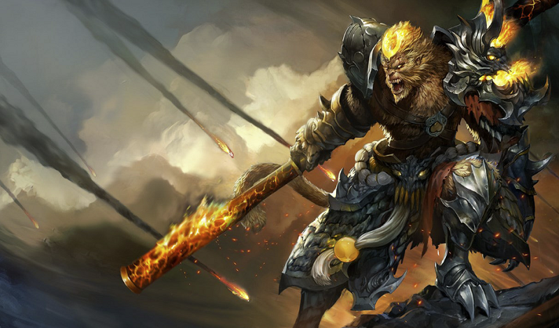 General Wukong screaming on a mountain with meteors around him