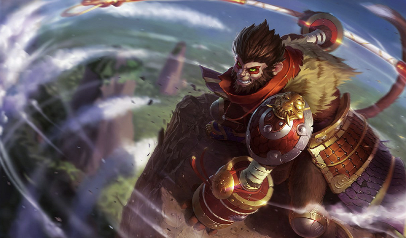 Wukong spinning his staff and smiling on a destroyed field of rocks