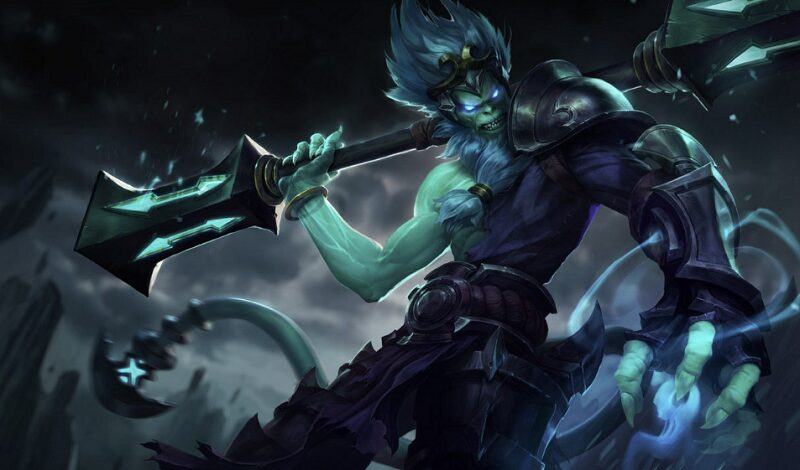 Underworld Wukong standing with his staff in a dark realm