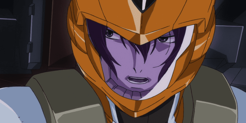 Allelujah exhausted inside his mobile suit during combat