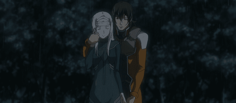 Allelujah hugging Soma from behind in the rain while crying
