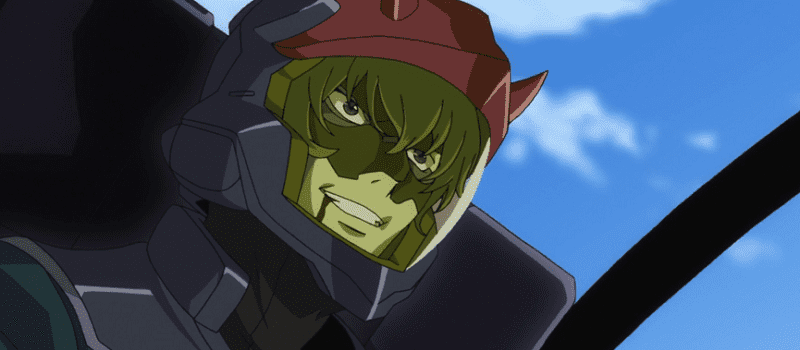Mr Bushido bleeding from his mouth in his mobile suit