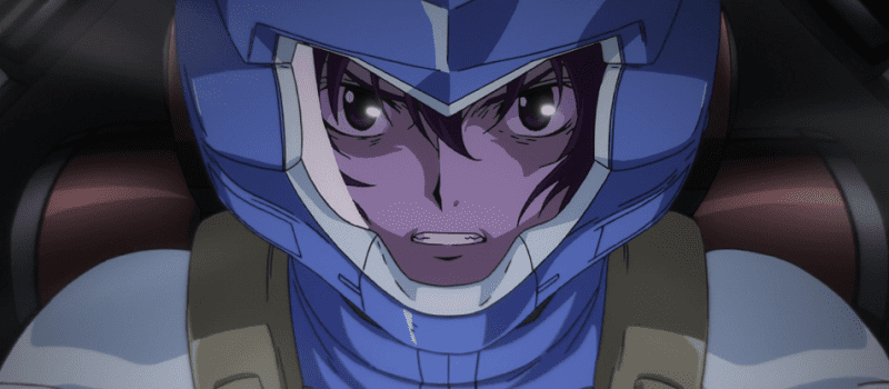 Setsuna furious in his blue attire while piloting his mobile suit