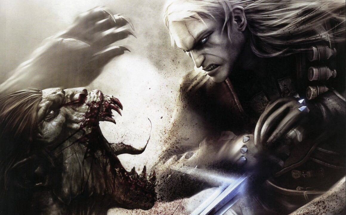 Geralt fighting a Striga with a silver sword and white background