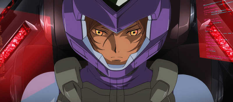 Tieria Erde staring intensely with bright eyes in his Gundam