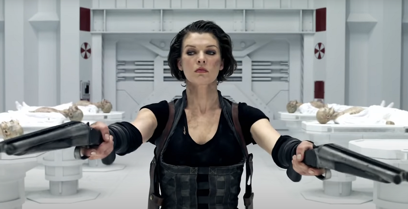 Alice aiming two guns in a white laboratory
