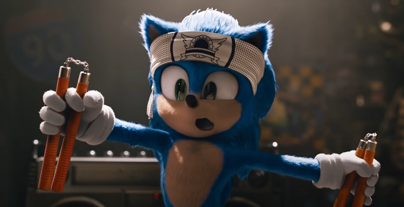 Sonic the Hedgehog with a pair of nunchuks and bandana