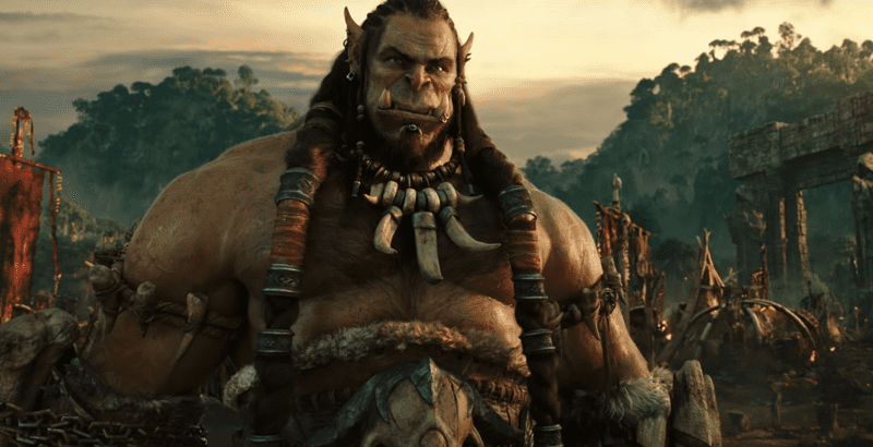 Orc Durotan in his camp looking serious