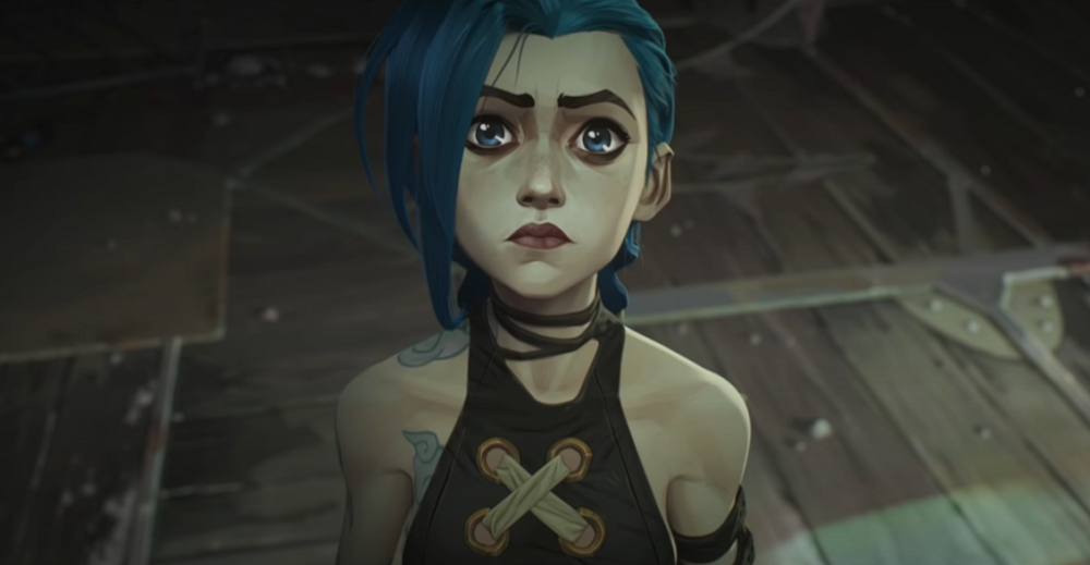 Jinx looking up in a dark room with a confused face