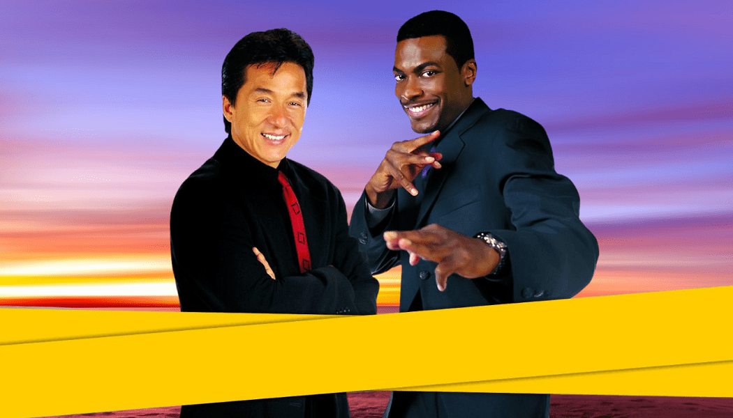 Jackie Chan and Chris Tucker with yellow tape and sunset background