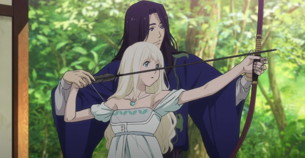 Fena being tought how to fire a bow and arrow