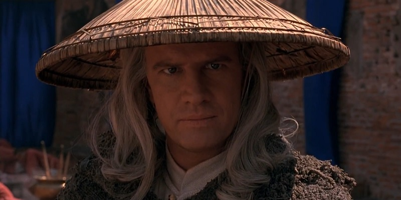 Raiden with a straw hat in a temple
