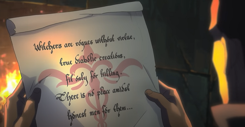 Vesemir holding a note about The Witchers