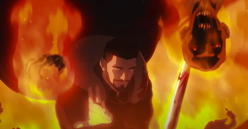 Vesemir using a fire spell and holding off creatures