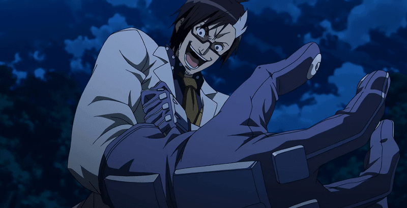 Dr Stylish injecting himself with a serum and laughing during night
