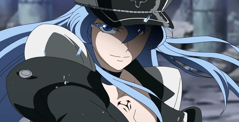 Lady Esdeath smiling with pieces of ice flying around