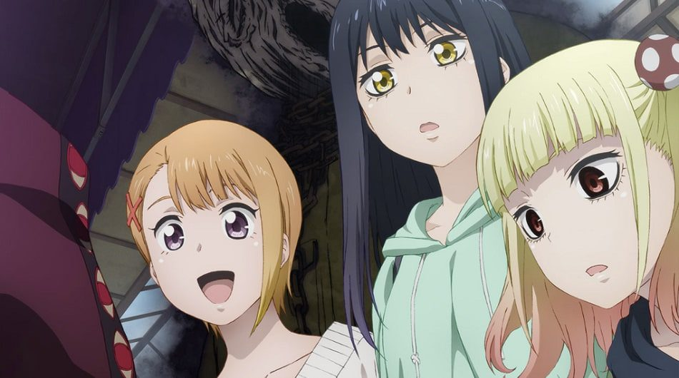 Miko Yotsuya, Hana and Yuria stunned by a mysterious man with ghost near them