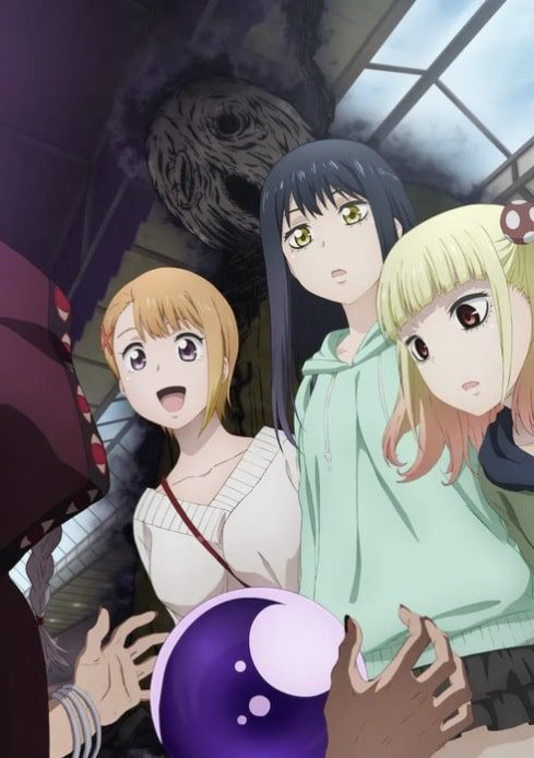 Miko Yotsuya, Hana and Yuria looking at a cloaked figure with ghost behind them