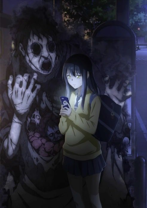 Miko Yotsuya looking at her phone with ghostly spirit near her