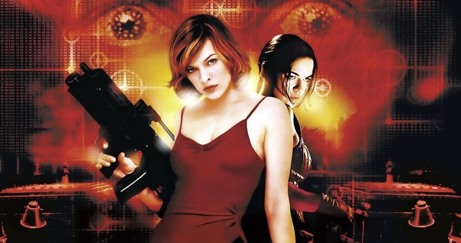Resident Evil characters Milla Jovovich and Michelle Rodriguez with red face behind them