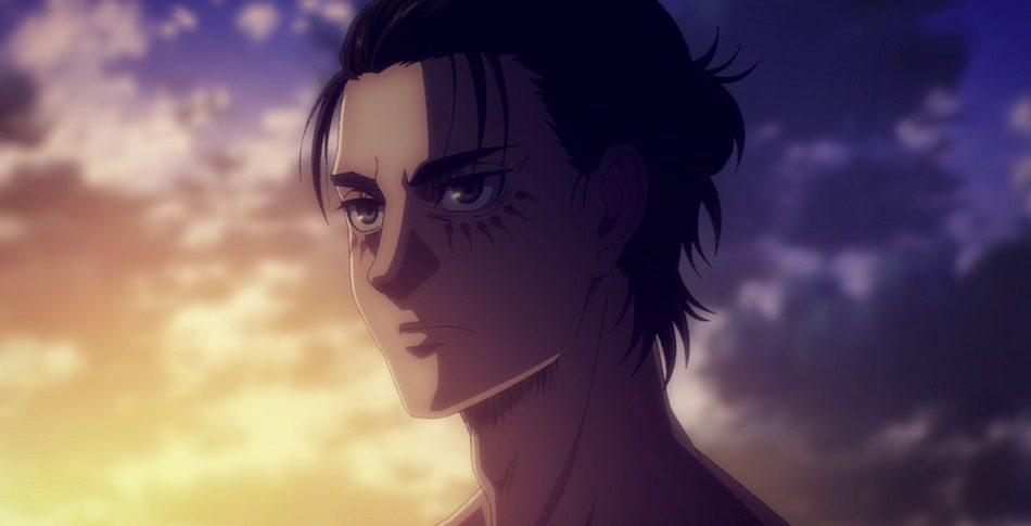Eren Yeager against a sunset with hair in ponytail