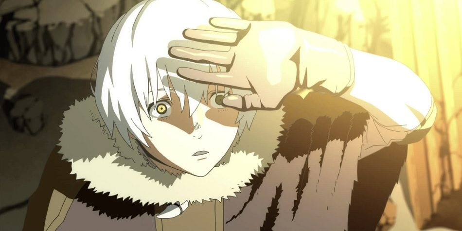 Fushi holding his hand up against a bright light