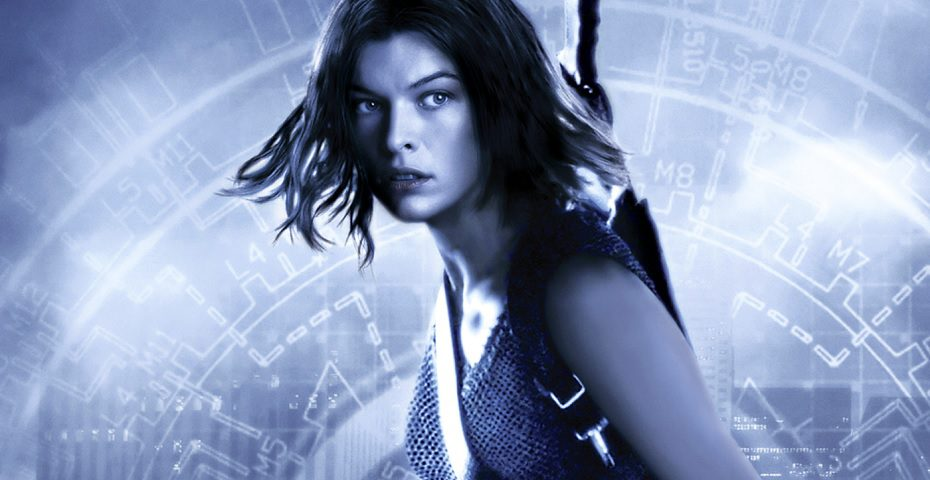 Milla Jovovich as Alice looking around with a blue background